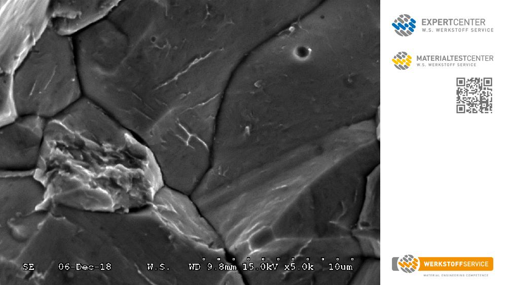Bild: Detailaufnahme einer Wasserstoffversprödung - W.S. Werkstof Service GmbH