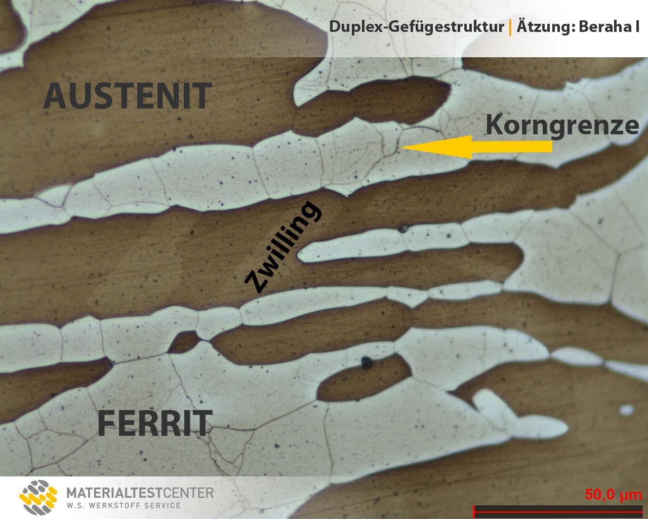 Bild: Duplex-Stahlgefüge mit Austenit, Ferrit, Zwilling und Korngrenze